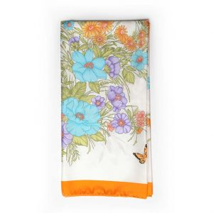 Andrew's Ties - Foulard Disegno Fiori - Flowers Design Foulard - Bordo Arancione - Orange Border COD.FO102