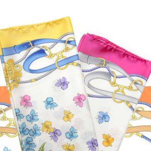 Andrew's Ties - Foulard Disegno Fiori e Staffe - Flowers and Stirrups Design Foulard - Presentazione - Presentation