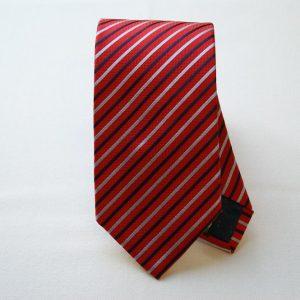 Cravatta Jacquard - color story rosso - riga piccola - COD.N032 - seta 100%