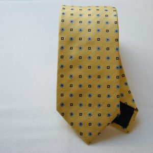 Jacquard Ties color story yellow silk 100% flower design COD.N028
