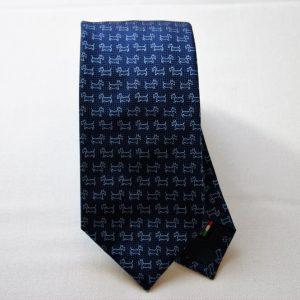 Cravatta Jacquard - disegno cane - fondo blu - COD.N042 - seta 100% - made in Italy
