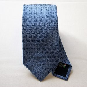 Jacquard ties - dog - light blue background - COD.N046 - 100% silk - made in Italy