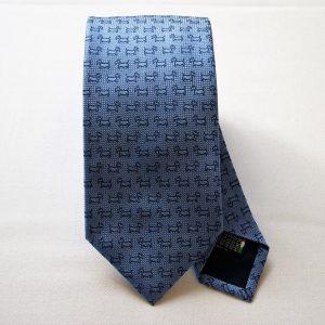 Cravatta Jacquard - disegno cane - fondo azzurro - COD.N046 - seta 100% - made in Italy