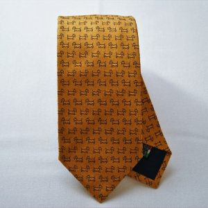 Jacquard ties - dog - orange background - COD.N043 - 100% silk - made in Italy