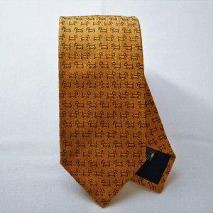 Jacquard ties - dog - orange background - COD.N043 - 100% silk - made in Italy