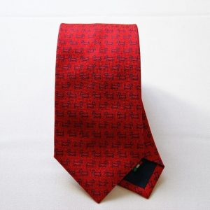 Jacquard ties - dog - red background - COD.N045 - 100% silk - made in Italy