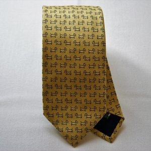 Jacquard ties - dog - yellow background - COD.N044 - 100% silk - made in Italy
