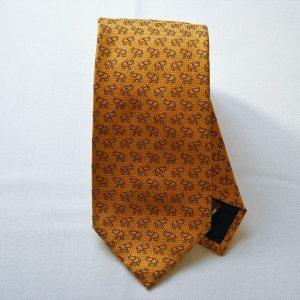 Jacquard ties - elephant - orange background - COD.N047 - 100% silk - made in Italy