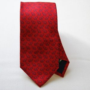 Jacquard ties - elephant - red background - COD.N049 -100% silk - made in Italy