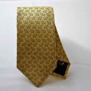 Jacquard ties - elephant - yellow background - COD.N048 - 100% silk - made in Italy