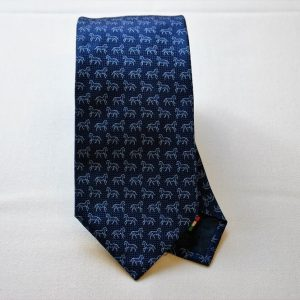 Jacquard ties - horse - blue background -COD.N037 - 100% silk - made in Italy
