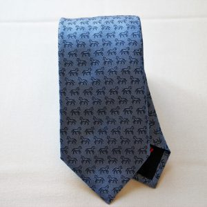 Jacquard ties - horse - light blue background - COD.N041 - silk 100% - made in Italy