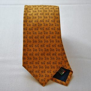 Cravatta Jacquard - disegno cavallo - fondo arancio - seta 100% - made in Italy