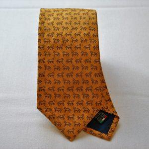 Jacquard ties - horse -orange background - COD.N038 -100% silk - made in Italy