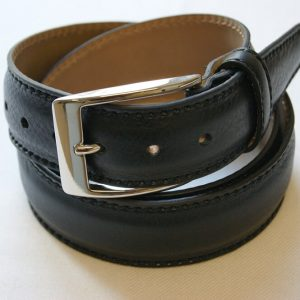 Leather belt black - leather 100% - cm.3,5 - made in Italy - COD.CPN006