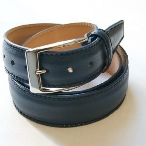 Leather belt blue - leather 100% - cm.3,5 - made in Italy - COD.CPN002