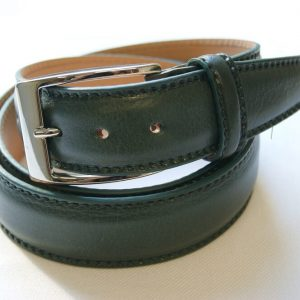 Leather belt green - leather 100% - cm.3,5 - made in Italy - COD.CPN001