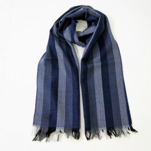 Wool scarf - 190x37 cm - blue background - 100% wool - COD.NSL002 - made in Italy
