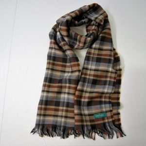 Wool scarf - 190x37 cm - brown background - 100% wool - COD.NSL005 - made in Italy