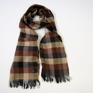 Sciarpa Lana - cm.190x37 - fondo marrone - lana 100% - COD.NSL010 - made in Italy