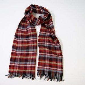 Sciarpa Lana - cm.190x37 - fondo rosso - lana 100% - COD.NSL006 - made in Italy