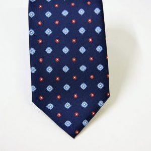 Cravatta twill – seta stampata – disegni classici – fondo blu – COD.N063 - SETA 100% - made in Italy 2
