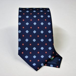 Twill ties - printed silk - classic designs - blue background - COD.N063 - 100% SILK - made in Italy