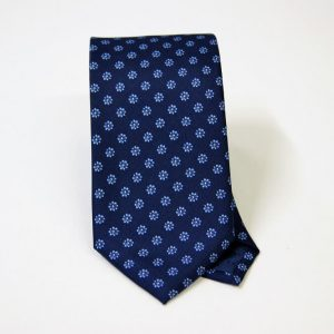 Cravatta twill – seta stampata – disegni classici – fondo blu – COD.N064 - SETA 100% - made in Italy