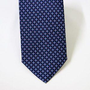 Cravatta twill – seta stampata – disegni classici – fondo blu – COD.N065 - SETA 100% - made in Italy2
