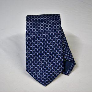 Cravatta twill – seta stampata – disegni classici – fondo blu – COD.N065 - SETA 100% - made in Italy