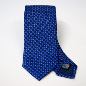 Twill ties - printed silk - classic designs - blue background - COD.N066 - 100% SILK - made in Italy