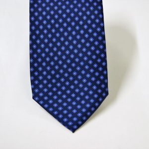 Cravatta twill – seta stampata – disegni classici – fondo blu – COD.N066 - SETA 100% - made in Italy 2