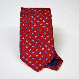 Cravatta twill – seta stampata – disegni classici – fondo bordeaux – COD.N067 - SETA 100% - made in Italy
