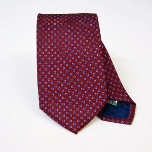 Twill ties - printed silk - classic designs - bordeaux background - COD.N068 - 100% SILK - made in Italy
