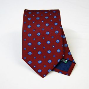 Twill ties - printed silk - classic designs - bordeaux background - COD.N069 - 100% SILK - made in Italy