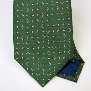Twill ties - printed silk - classic designs - green background - COD.N051 - 100% SILK - made in Italy 2