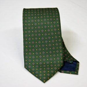 Cravatta twill – seta stampata – disegni classici – fondo verde – COD.N051 - SETA 100% - made in Italy