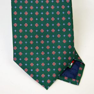 Twill ties - printed silk - classic designs - green background - COD.N052 - 100% SILK - made in Italy 2