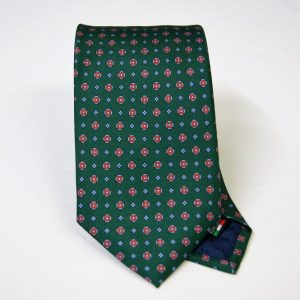 Twill ties - printed silk - classic designs - green background - COD.N052 - 100% SILK - made in Italy