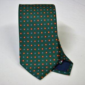 Cravatta twill – seta stampata – disegni classici – fondo verde – COD.N053 - SETA 100% - made in Italy