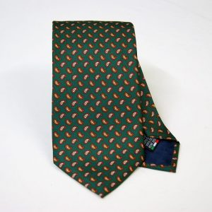Twill ties - printed silk - classic designs - green background - COD.N054 - 100% SILK - made in Italy