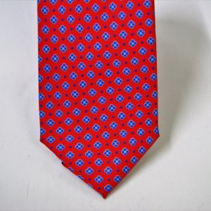Twill ties - printed silk - classic designs - red background - COD.N059 - 100% SILK - made in Italy 2