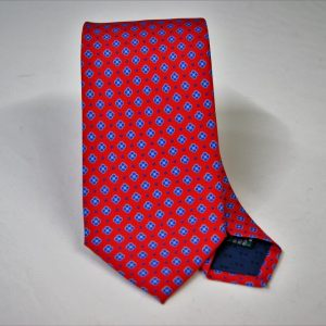 Twill ties - printed silk - classic designs - red background - COD.N059 - 100% SILK - made in Italy