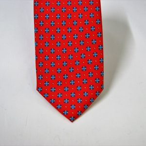 Twill ties - printed silk - classic designs - red background - COD.N062 - 100% SILK - made in Italy 2