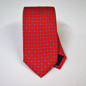 Twill ties - printed silk - classic designs - red background - COD.N062 - 100% SILK - made in Italy