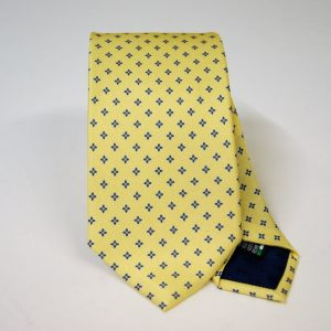 Twill ties - printed silk - classic designs - yellow background - COD.N055 - 100% SILK - made in Italy