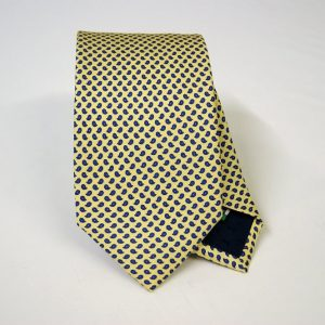 Twill ties - printed silk - classic designs - yellow background - COD.N057 - 100% SILK - made in Italy