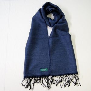 Wool scarf - 190x37 cm – avion blue – solid color – double face - 100% wool - COD.NSL014 - made in Italy