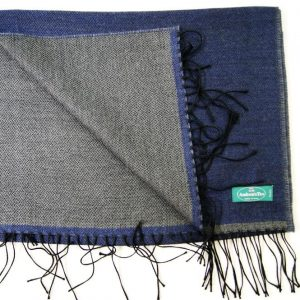 Wool scarf - 190x37 cm – dark blue gray – solid color – double face - 100% wool - COD.NSL012 - made in Italy 2