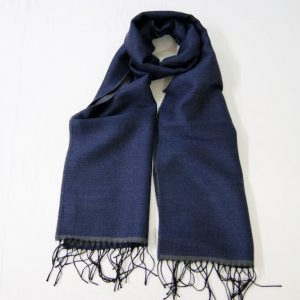 Wool scarf - 190x37 cm – dark blue gray – solid color – double face - 100% wool - COD.NSL012 - made in Italy